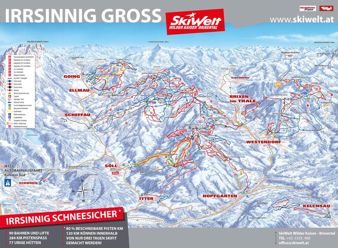 Pistenplan SkiWelt Wilder Kaiser – Brixental