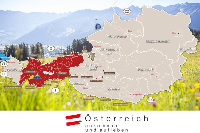 Österreich Gesamtkarte - Tirol ist in dieser Karte hervorgehoben