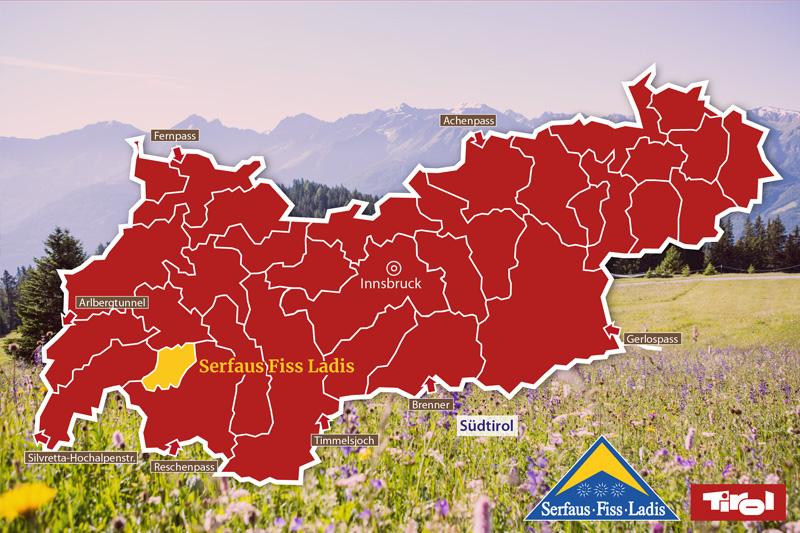 In dieser Tirol Karte siehst Du wo sich Serfaus Fiss Ladis befindet