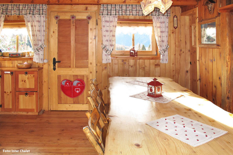 Wohnraum Hütte im Fassatal