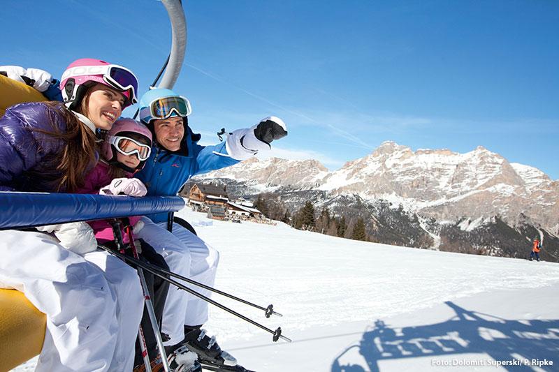 Familien-Skiurlaub in den Dolomiten