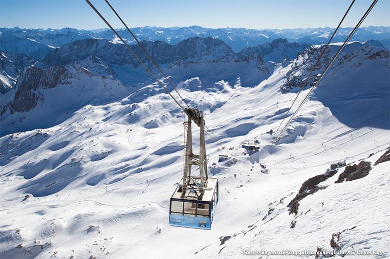 Mit der Gletscherbahn auf die Zugspitze