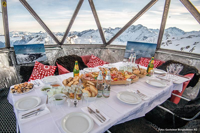 Frühstück auf 2.650 m am Kreuzkogel in Sportgastein