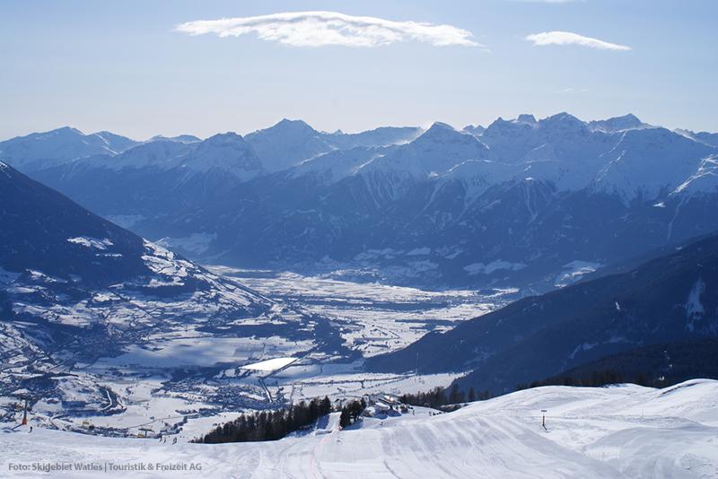 Blick ins Tal vom Skigebiet Watles