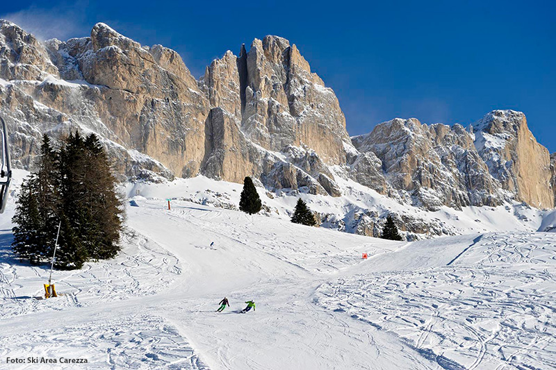 Skifahren am Fuße von Rosengarten und Latemar