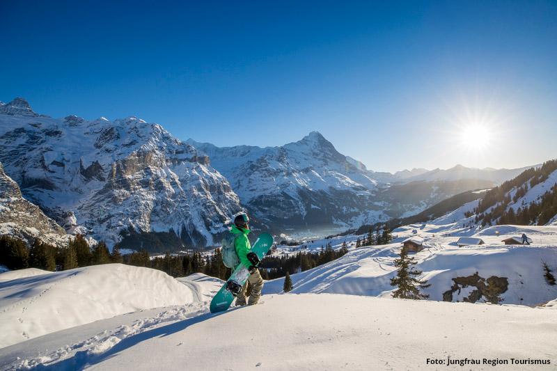 Snowboarden im Skigebiet Grindelwals-First