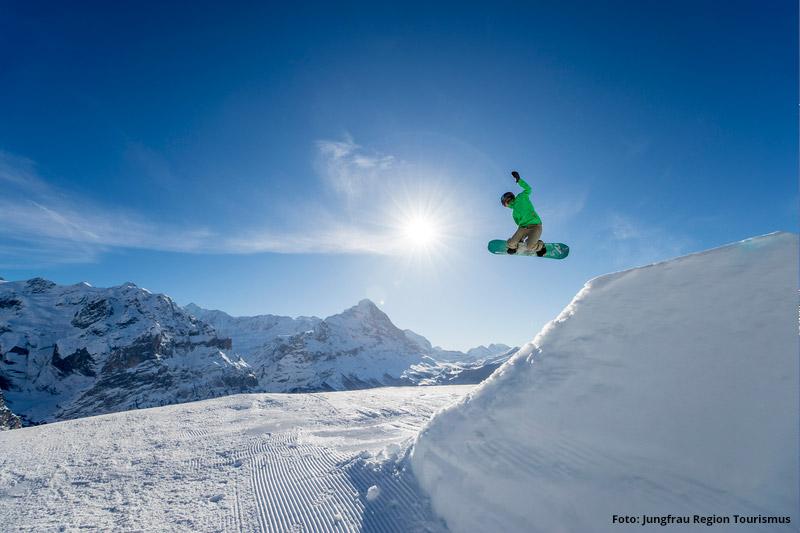 Snowboarden im Skigebiet Grindelwald-Wengen