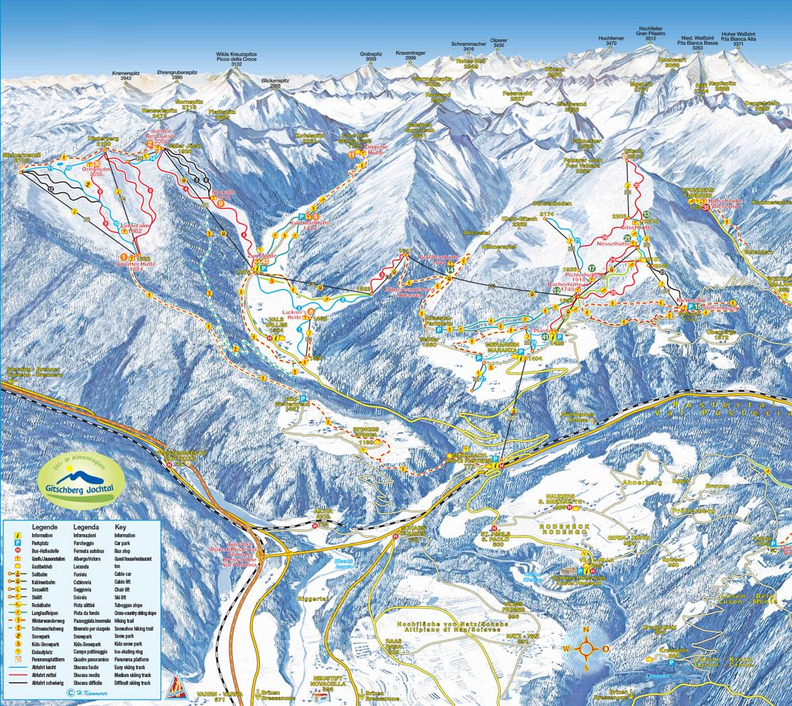 Pistenplan Skigebiet Gitschberg-Jochtal