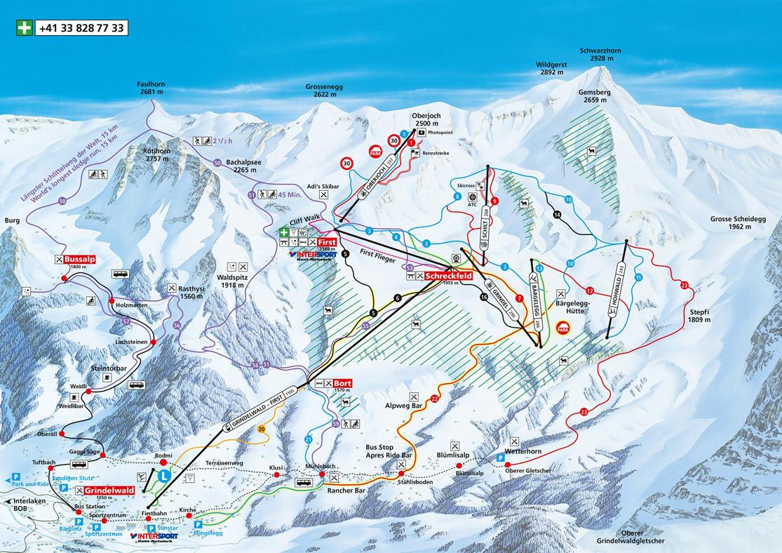 Pistenplan Grindelwald-First