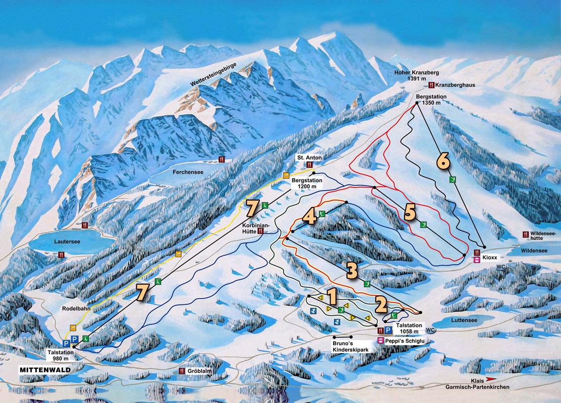 Pistenplan Skigebiet am Kranzberg