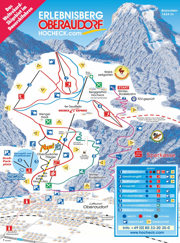 Pistenplan Skigebiet Oberaudorf - Hocheck