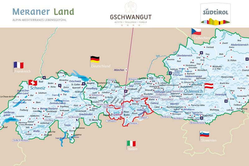 Schau Dir unsere Alpenkarte an! Und Du siehst wo sich das Hotel Gschwangut befindet.