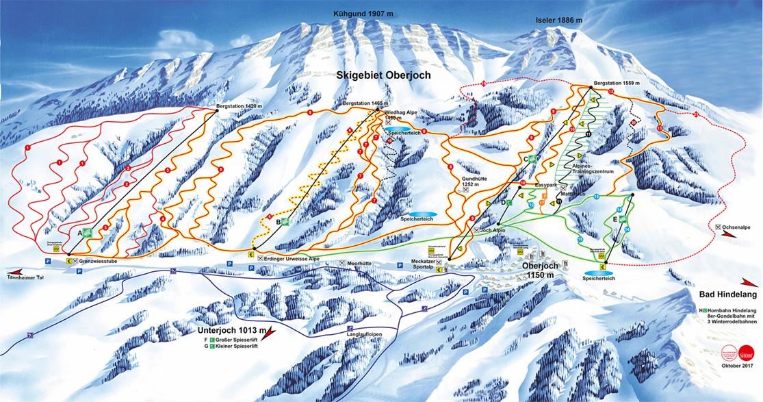 Pistenplan Skigebiet Oberjoch