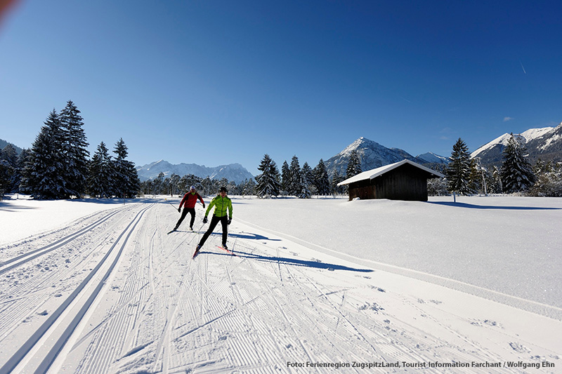 12 Kilometer Langlauf-Rundtour durch das Loisachtal