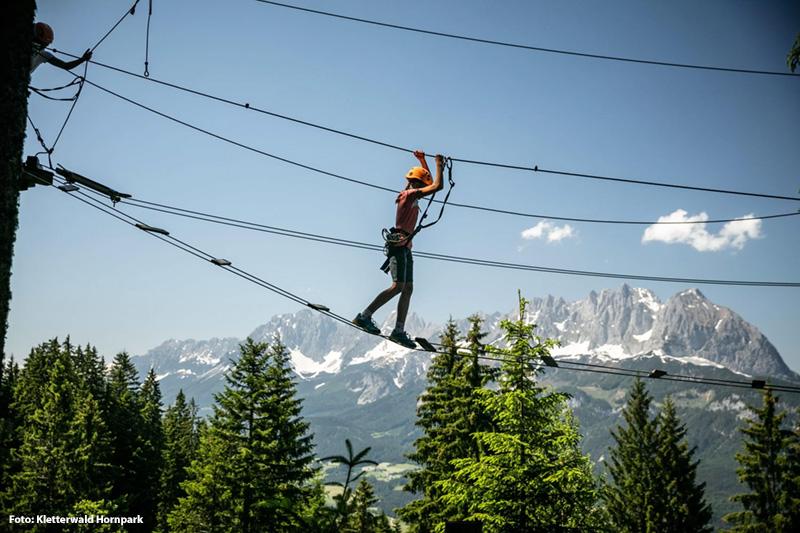 Eines von vielen Highlights für Kinder und Erwachsene ist der Hornpark Kletterwald