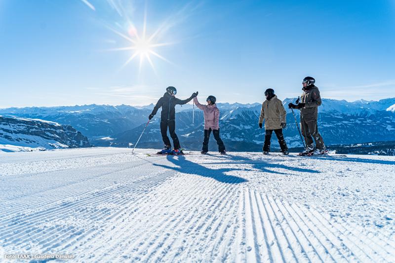 Es erwarten dich 224 Pistenkilometer im Skigebiet Flims-Laax-Falera