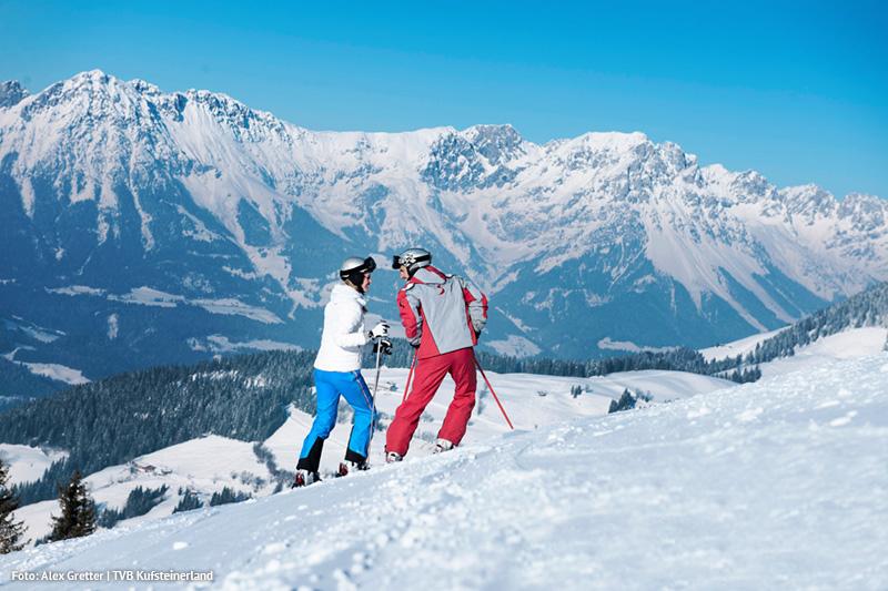 Skifahren mit einer unvergesslichen Aussicht im Skigebiet Skiwelt Wilder Kaiser