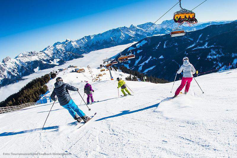 Skigebiet Saalbach Hinterglemm Leogang Fieberbrunn mit seinen 270 Pisten-km: 140 blau, 112 rot, 18 schwarz, da ist für jeden was passendes dabei