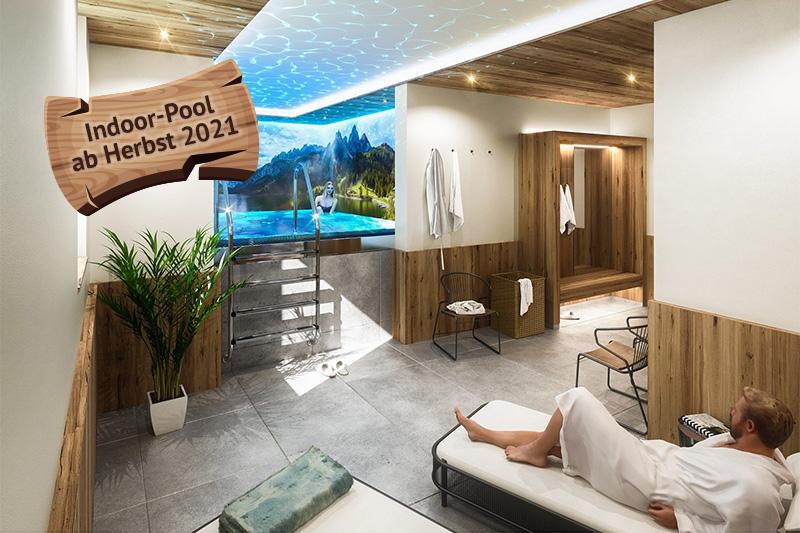 Neben dem Saunabereich kannst Du Dich ab Herbst 2021 auch im neuen Indoor-Pool mit Massagedüsen entspannen