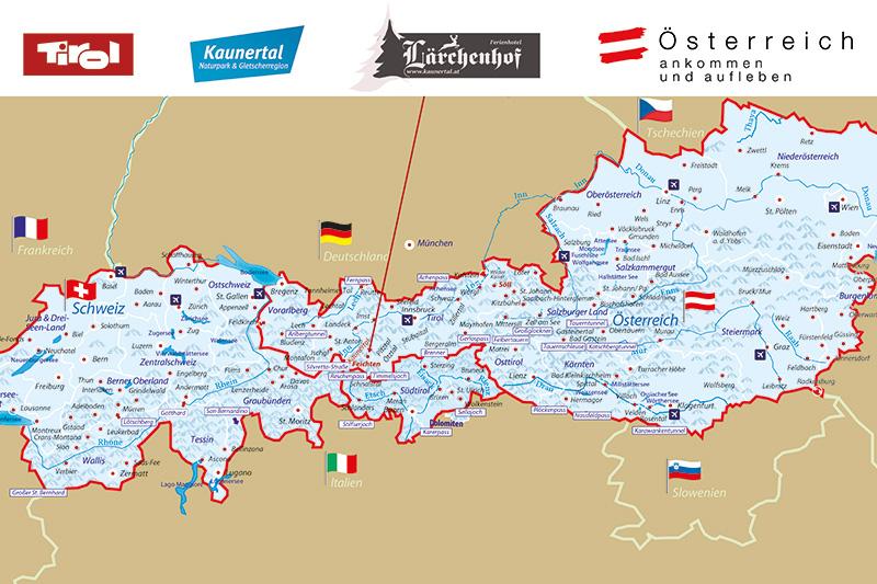 Auf dieser Alpenkarte kannst Du Dich orientieren und entdecken wo sich das Ferienhotel Lärchenhof befindet