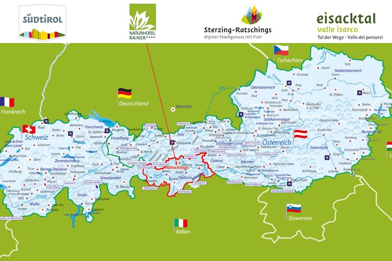 Auf dieser Alpenkarte siehst Du wo sich das Naturhotel Rainer befindet